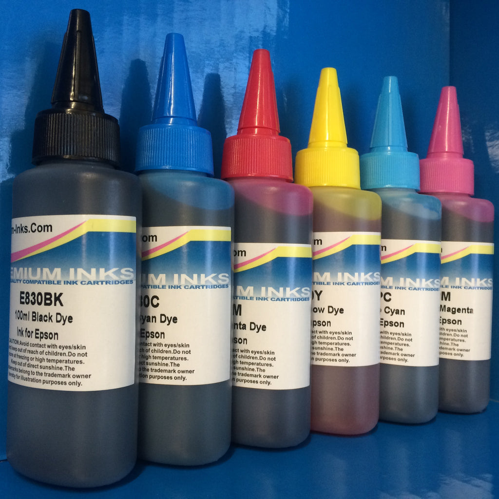 6 Non OEM Ink Refill Bottles Epson Stylus Photo R1400 R 1400 1500 R1500W Printer