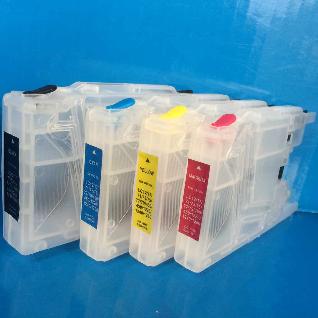 4 REFILLABLE PRINTER CARTRIDGES TO REPLACE BROTHER LC1220 LC1240 LC1280 NON OEM