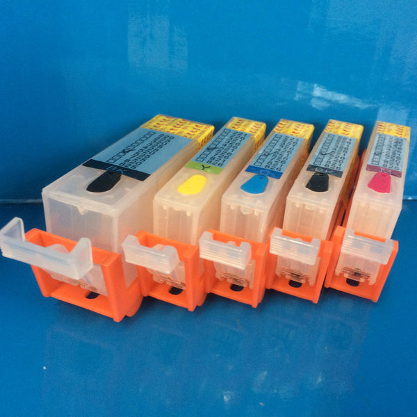 5 REFILLABLE CARTRIDGES +500ML DYE INK FOR CANON PGI-525BK CLI-526 B/C/M/Y Non OEM
