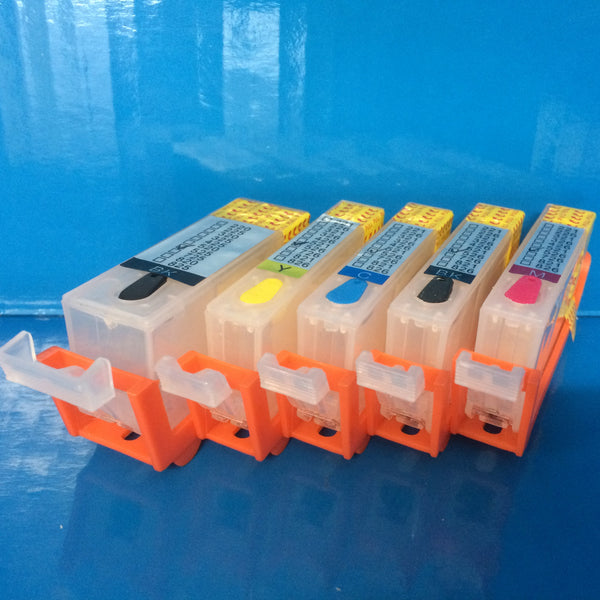 5 REFILLABLE CARTRIDGES FOR CANON PGI-520BK CLI-521 BK/C/M/Y With Auto Reset Chips Non OEM