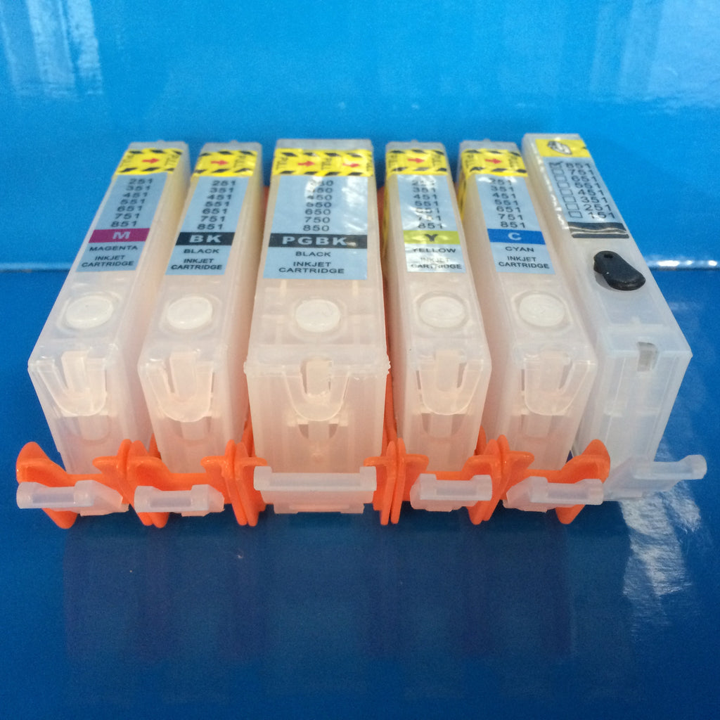 6 REFILLABLE CARTRIDGES FOR CANON PGI-550BK CLI-551 BK/C/M/Y/G