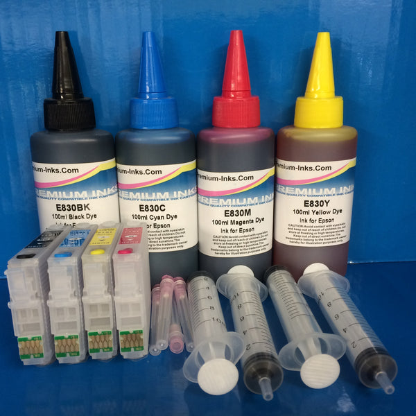 18 xl REFILLABLE CARTRIDGES KIT EPSON T1811 T1812 T1813 T1814 + 400ML INK Non OEM