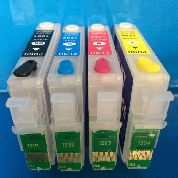 T1291-4 REFILLABLE EMPTY INK CARTRIDGES FOR EPSON WORKFORCE WF 3010DW 3520DWF ETC. Non OEM