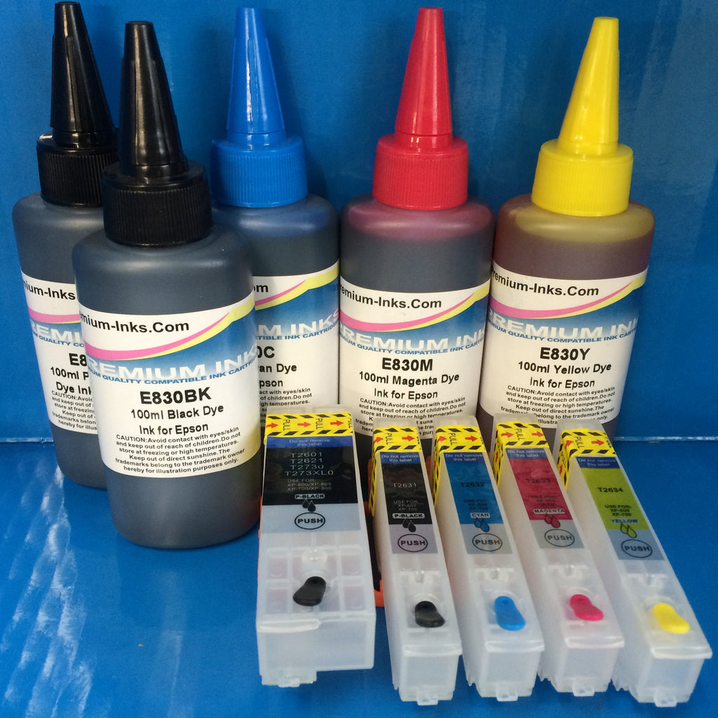 26 SERIES REFILLABLE CARTRIDGES + 5X100ML DYE INK TO REPLACE EPSON T2621 T2631 T2632 T2633 T2634