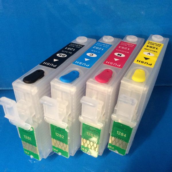 T1281-4 REFILLABLE CARTRIDGES + 4X100ML REFILL INK EPSON S22 SX225W ETC. Non OEM