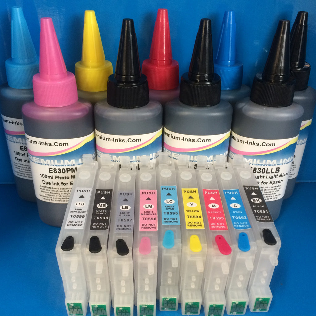 R2400 REFILLABLE CARTRIDGES +9X100ML DYE REFILL INK REPLACE EPSON T0591/2/3/4/5/6/7/8/9 Non OEM