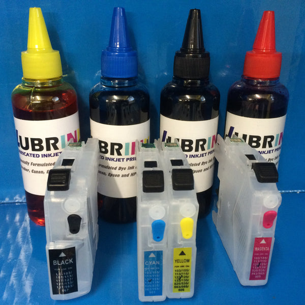 400ml LUBRINK INK + REFILLABLE CARTRIDGES BROTHER LC123 LC125 LC127 NON OEM