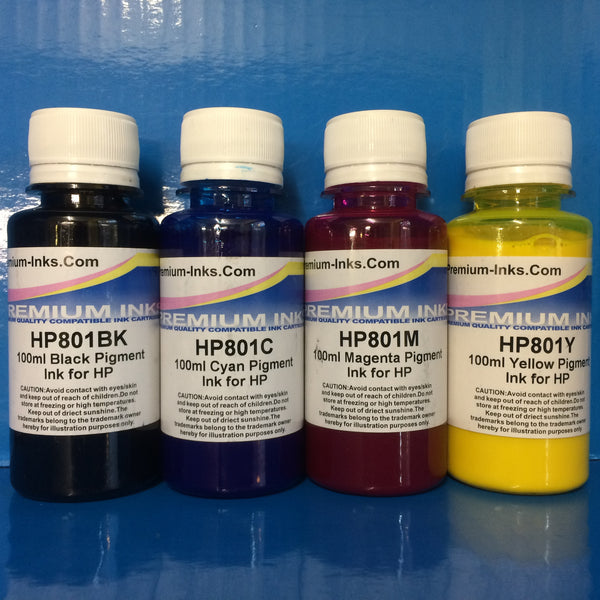 4x100ml PIGMENT PRINTER REFILL INK FOR HP INKJET PRINTERS Non OEM