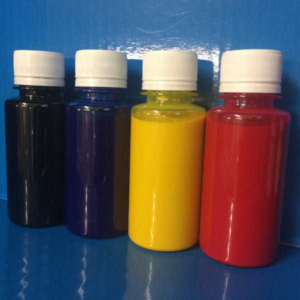 4x100ml Sample Bottles Eco Solvent Ink Roland Mimaki Mutoh Epson DX5 DX6 DX7 Head Non OEM