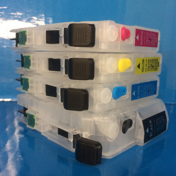 4 REFILLABLE PRINTER CARTRIDGES WITH ARC TO REPLACE BROTHER LC123 LC125 LC127 Non OEM