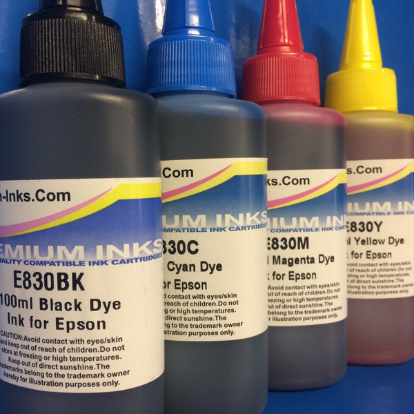 4X100ML REFILL INK FOR EPSON WORKFORCE HOME EXPRESSION PREMIUM PRINTERS NON OEM