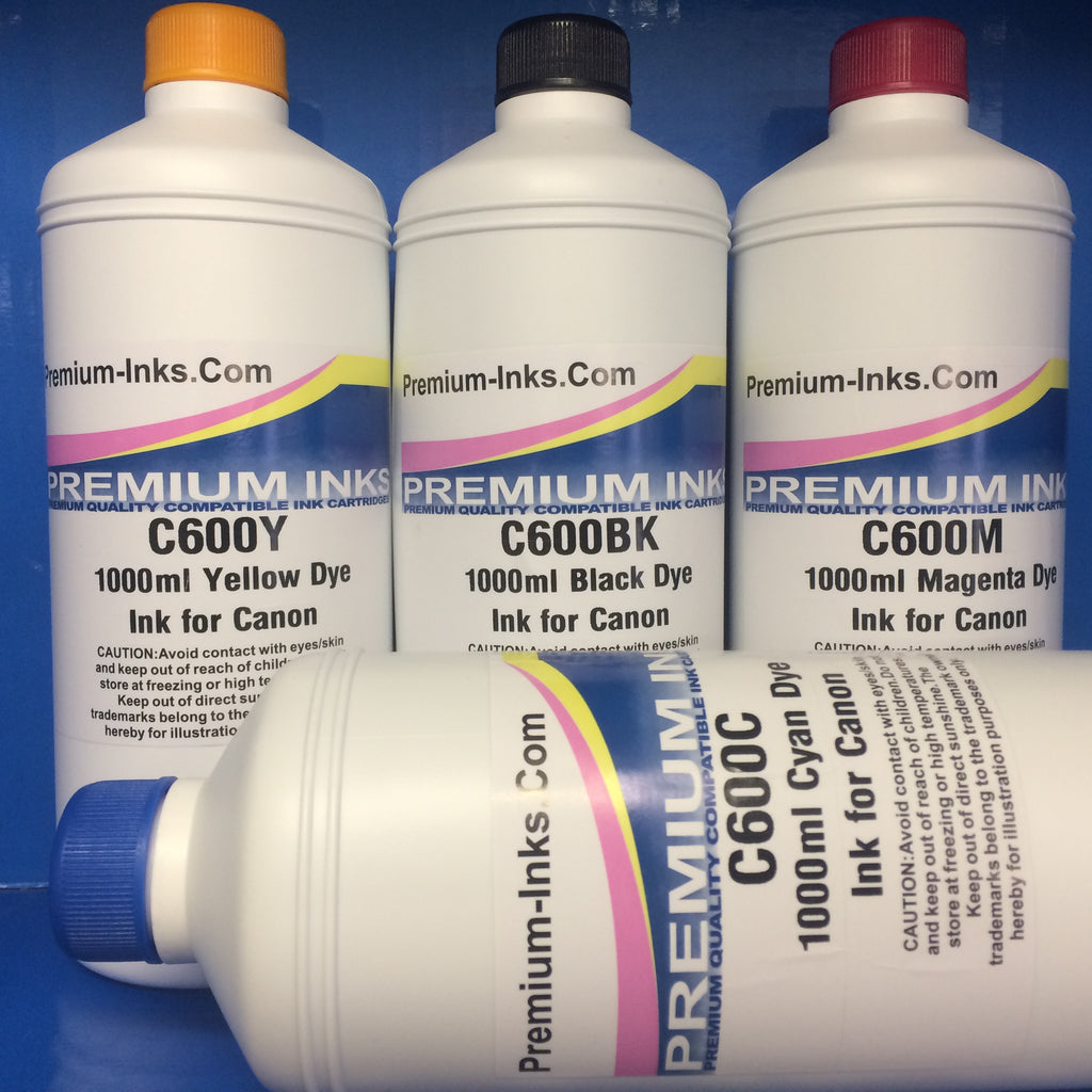 LITRE BOTTLES 4 X 1000ML DYE BULK REFILL INK FOR CANON Black/Cyan/Mg/Yw Universal CISS