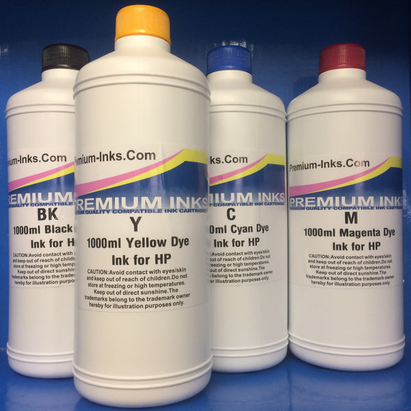 4 x LITRE BOTTLES DYE REFILL INK FOR HP INKJET PRINTERS Non OEM