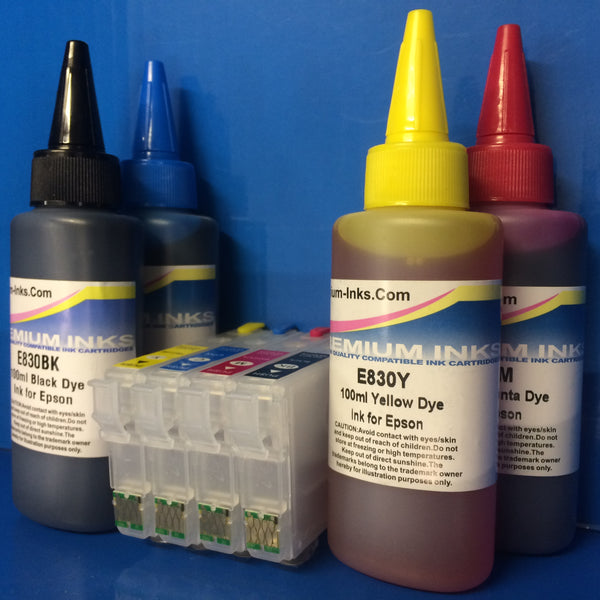 4 REFILLABLE CARTRIDGES + INK TO REPLACE EPSON 29 29XL T2991-4