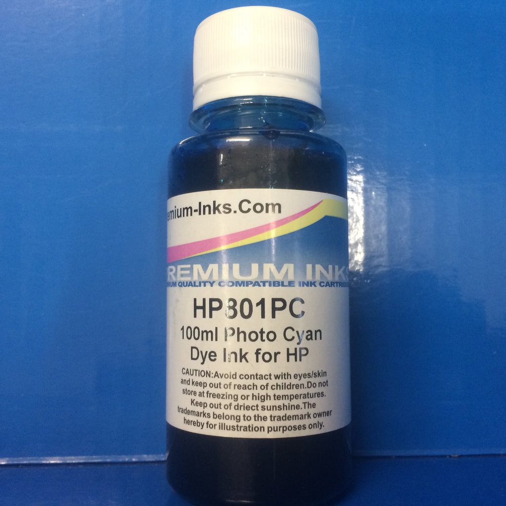 LIGHT/PHOTO CYAN 2 x 100ml DYE PRINTER REFILL INK FOR HP INKJET PRINTERS