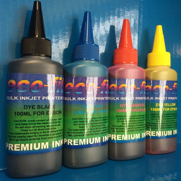 4X100ML ECO-FILL REFILL INK FOR EPSON WORKFORCE HOME EXPRESSION PREMIUM STYLUS COLOR PRINTERS NON OEM