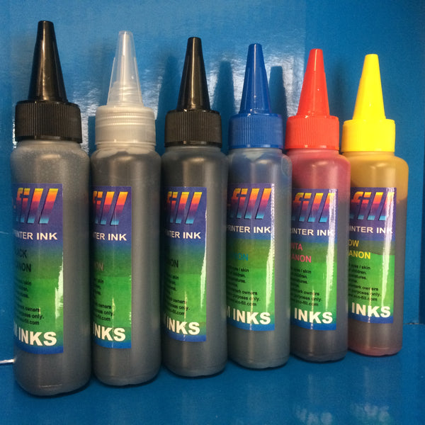 6X100ML ECO-FILL DYE/PIGMENT REFILL INK FOR CANON PIXMA PRINTERS NON OEM