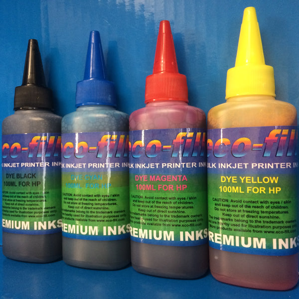 4X100ML ECO-FILL DYE REFILL INK FOR HP PRINTERS NON OEM