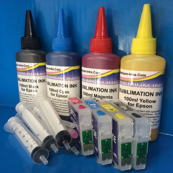 T2711-4 Refillable Cartridges SUBLIMATION Ink For Epson Workforce WF 7210DTW 7710 7715 DWF etc.