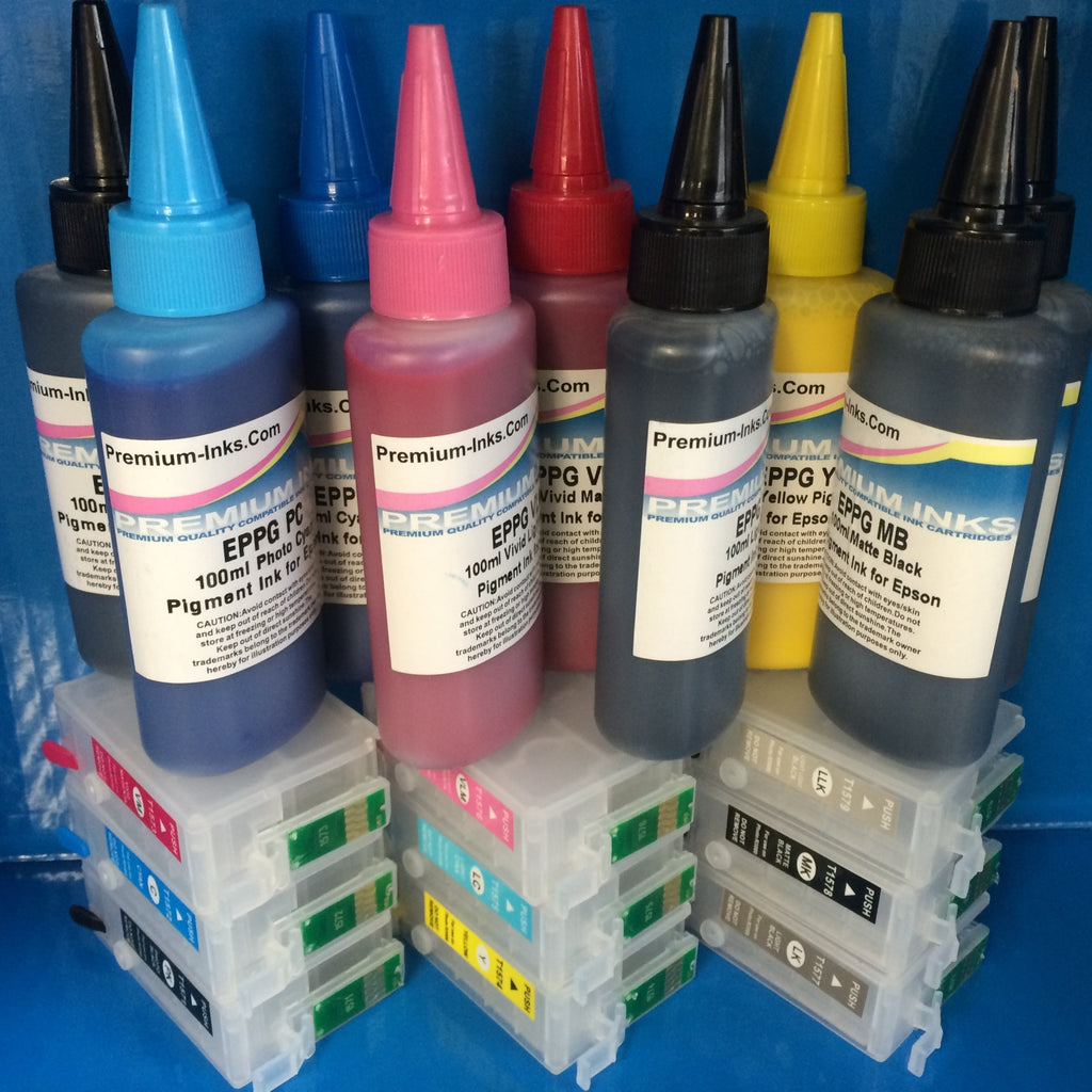 R3000 REFILLABLE CARTRIDGES + 900ml PIGMENT INK EPSON STYLUS PHOTO R3000 NON OEM