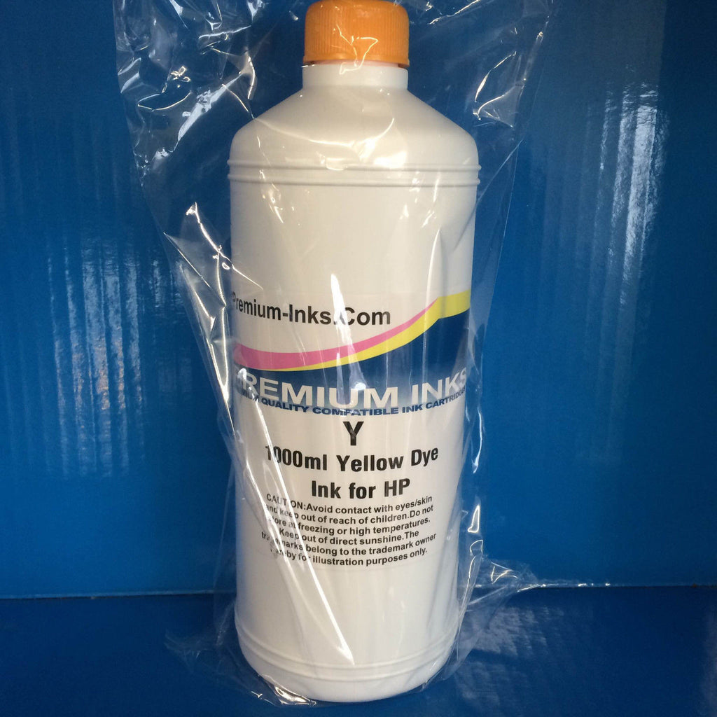 LITRE BOTTLE YELLOW DYE REFILL INK FOR HP INKJET PRINTERS Non OEM