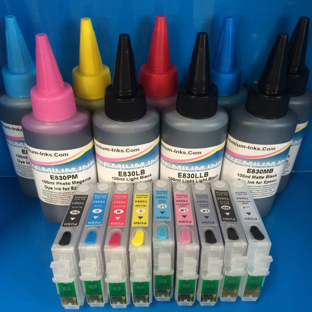 R2880 REFILLABLE CARTRIDGES + 900ml DYE INK EPSON STYLUS PHOTO R2880 NON OEM