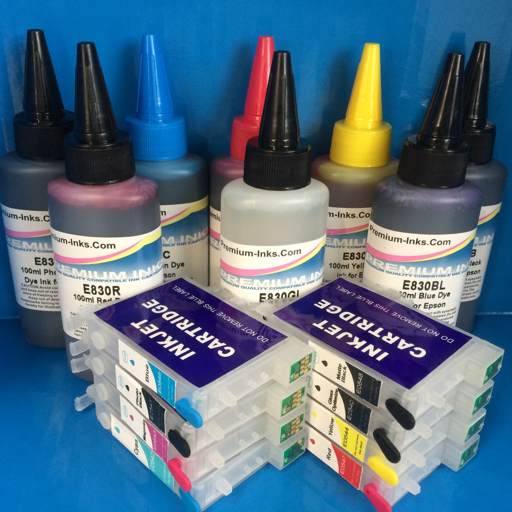 R800 R1800 REFILLABLE CARTRIDGES + 8X100ML TO REPLACE EPSON T0540/1/2/3/4/7/8/9 Non OEM
