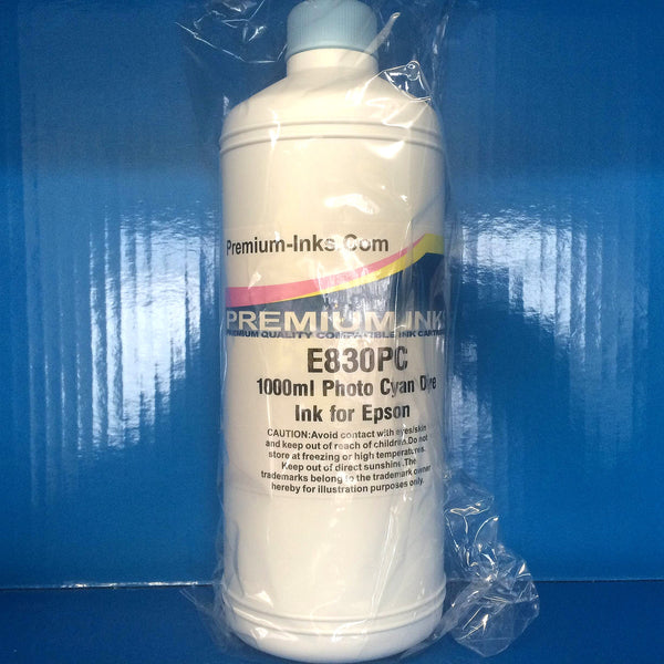 1 Litre Bottle DYE Refill Printer Ink for EPSON Cartridges LIGHT/PHOTO CYAN Non OEM
