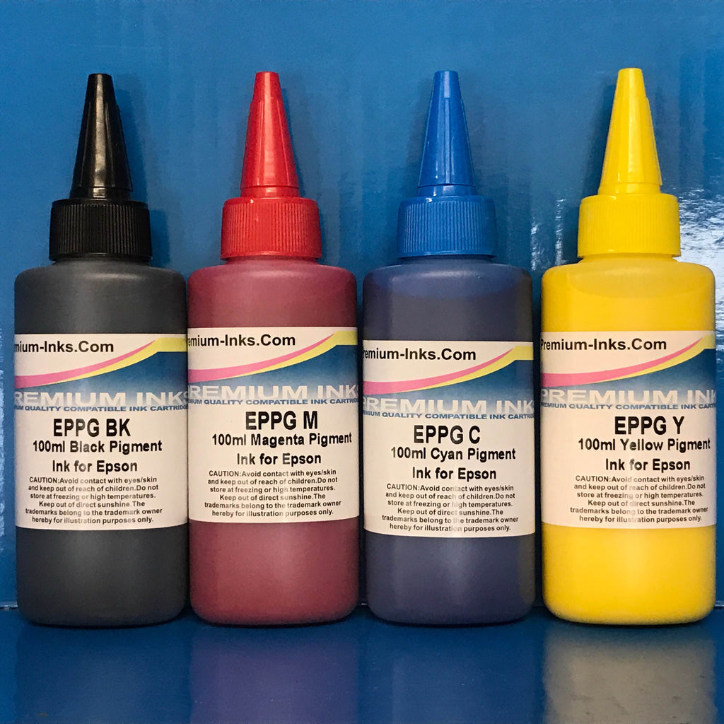 4X100ml PIGMENT Ink Bottles for Epson Printers Non OEM