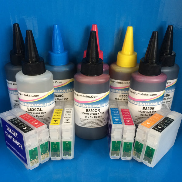 R1900 REFILLABLE CARTRIDGES + 8X100ML DYE REFILL INK EPSON T0870/1/2/3/4/7/8/9 Non OEM