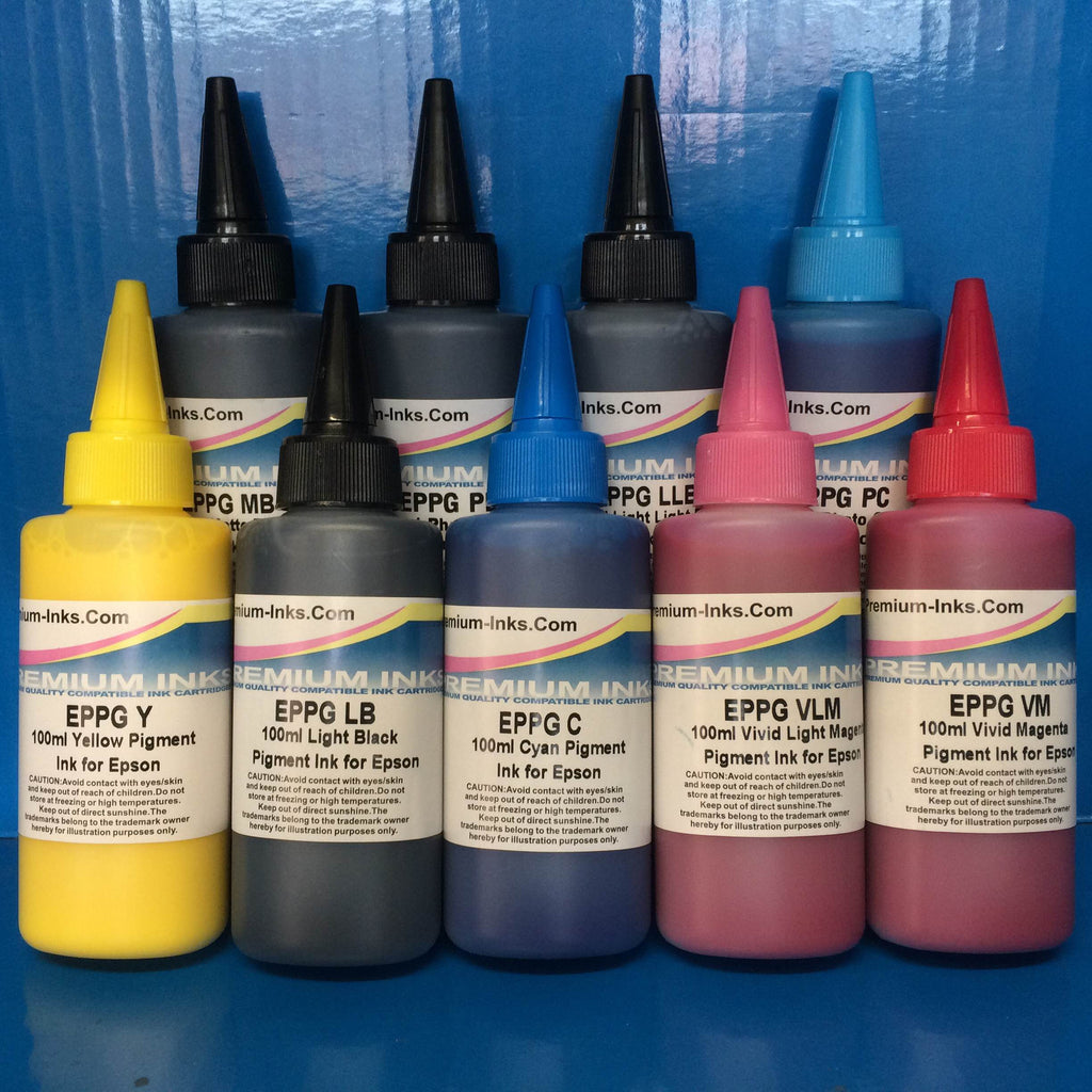 9 x 100ml PIGMENT REFILL INK EPSON STYLUS PHOTO R3000 PRINTER Non OEM