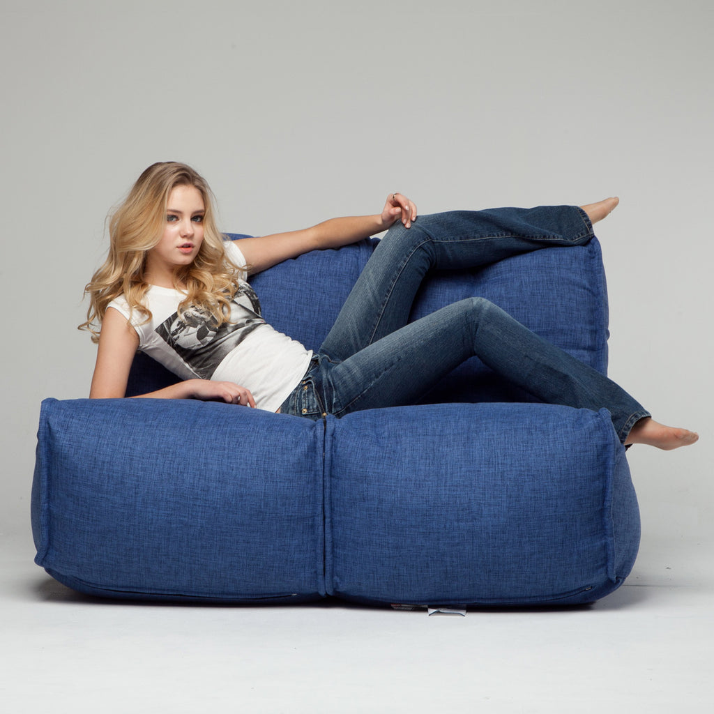 2 Seater Blue Sofa | Designer Bean Bag Couch | Blue Beanbag | Ambient Lounge