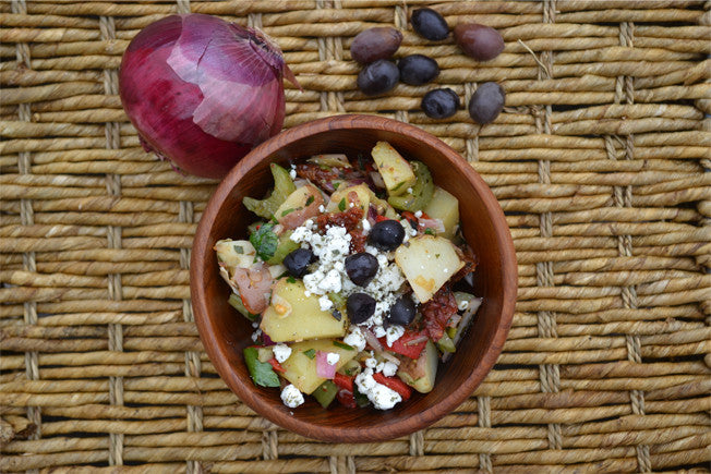 Antipasto Potato Salad with Feta & Black Olives