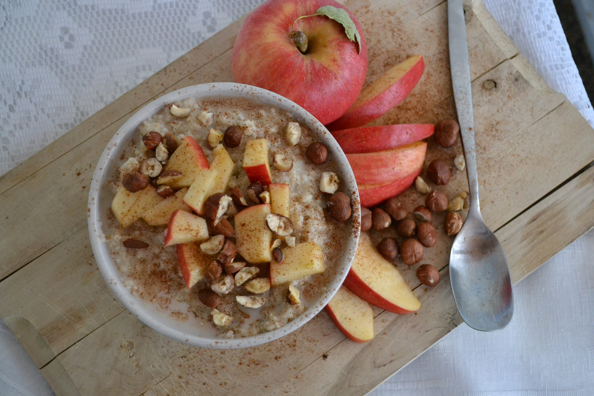 Apple Cinnamon Oatmeal with Hazelnuts