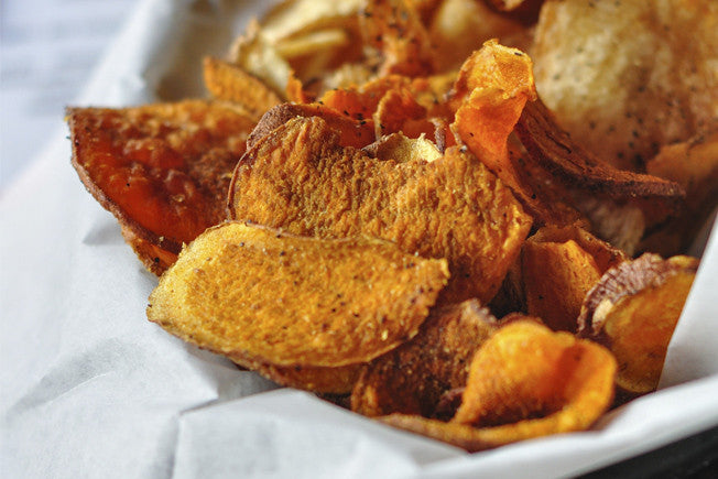 Healthy Baked Sweet Potato Chips with Coconut Oil