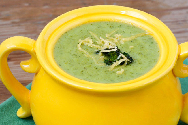 Broccoli, Cauliflower & Cheddar Soup with Fresh Cracked Pepper