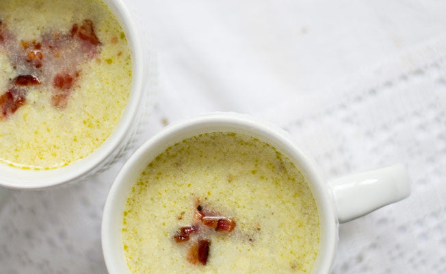 Cauliflower, Potato & Bacon Soup with Parmesan