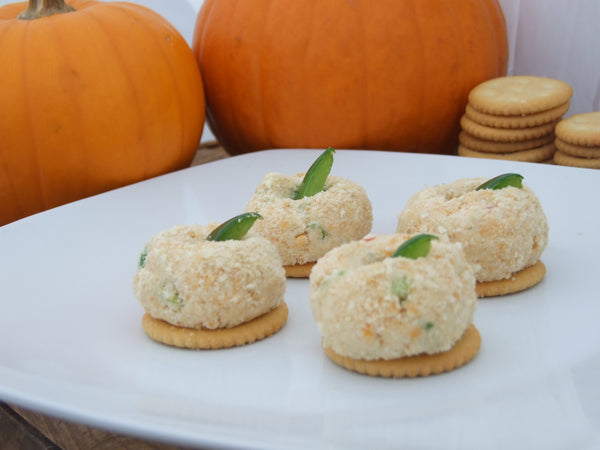 Mini Pumpkin Cheeseballs with Chevre & Cheddar