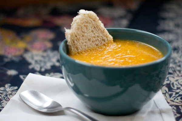 Creamy Carrot Ginger Soup with Creme Fraiche