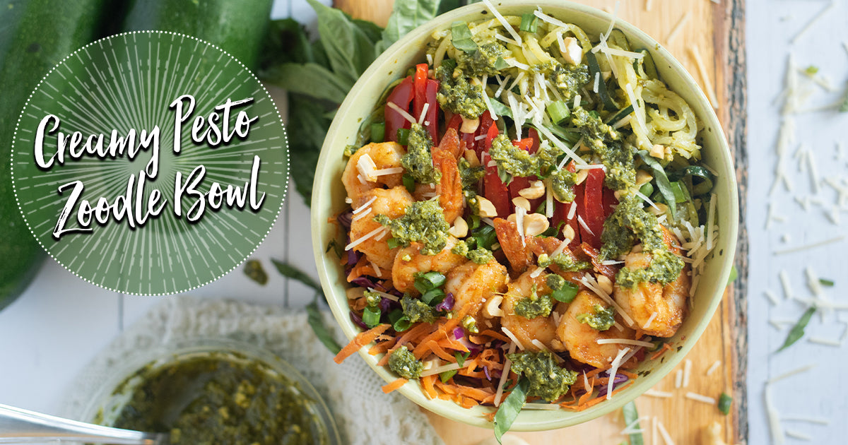 Creamy Pesto Zoodle Bowl with Spicy Shrimp