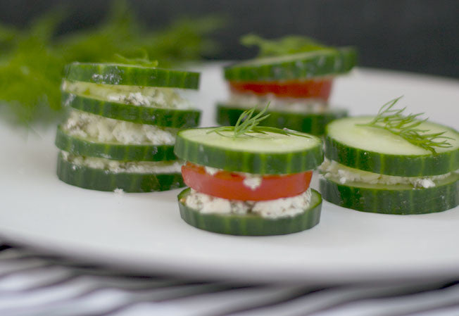 Cucumber Stacks with Chevre & Fresh Dill