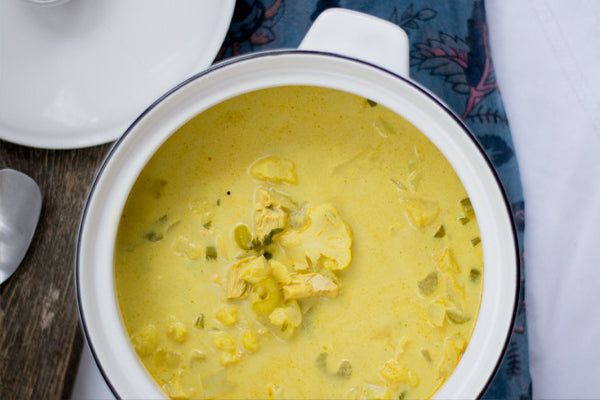 Curried Chicken & Cauliflower Soup with Coconut Milk