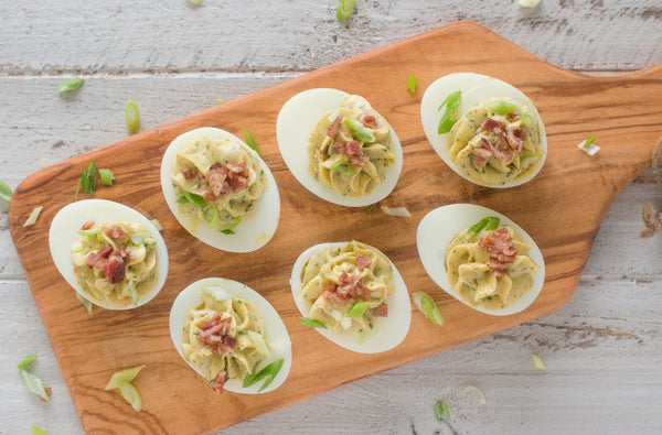Devilled Eggs with Creamy Avocado Mayo & Bacon