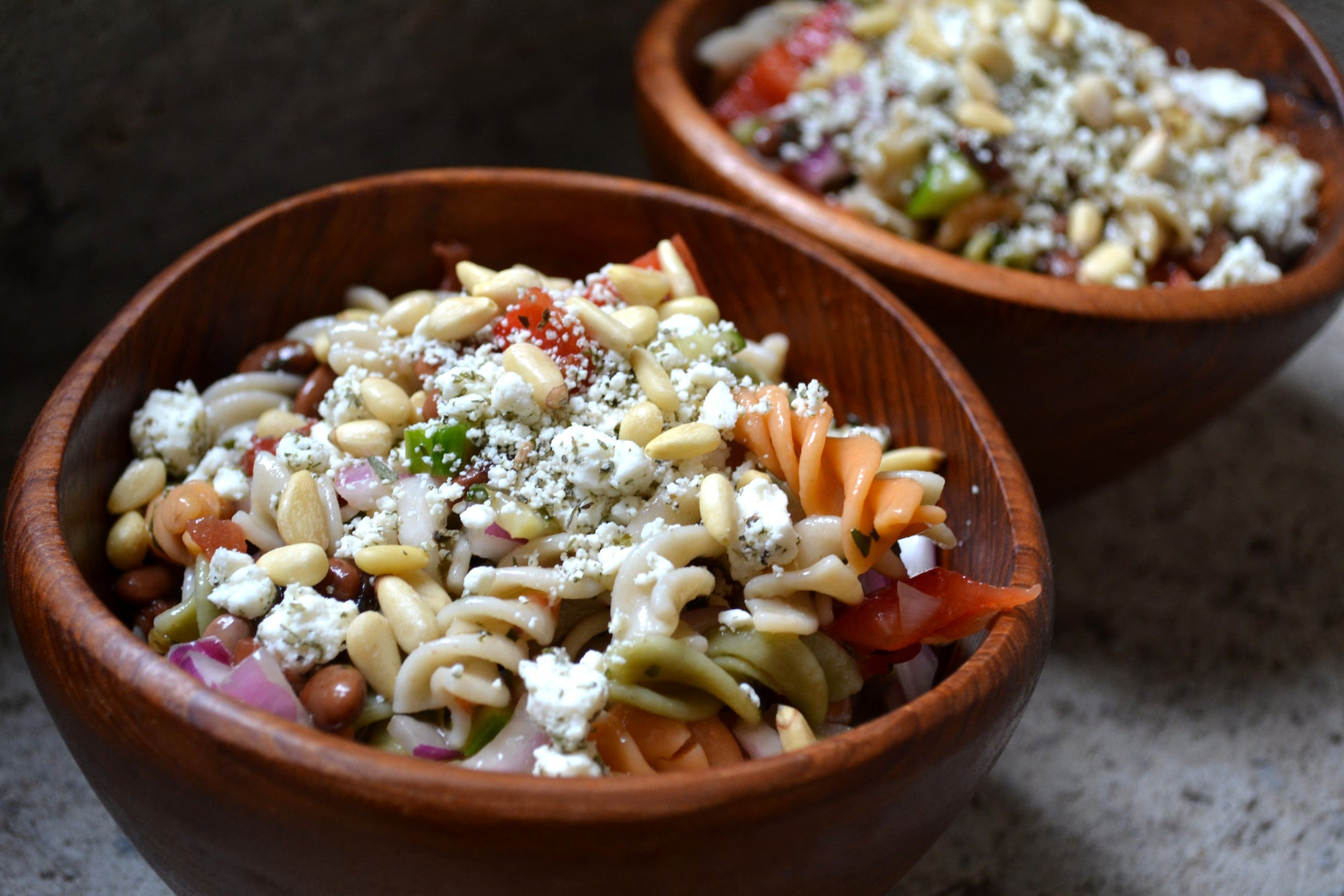Gluten Free Mediterranean Pasta Salad with Red Wine & Lemon Dressing