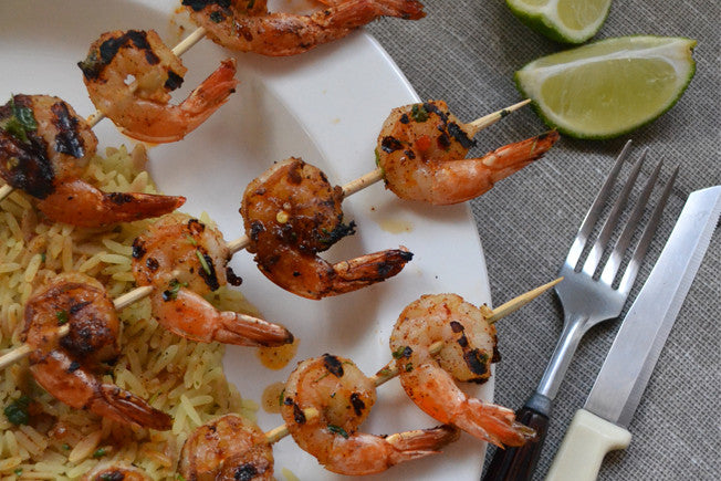 Grilled Chili, Garlic & Lime Shrimp Skewers