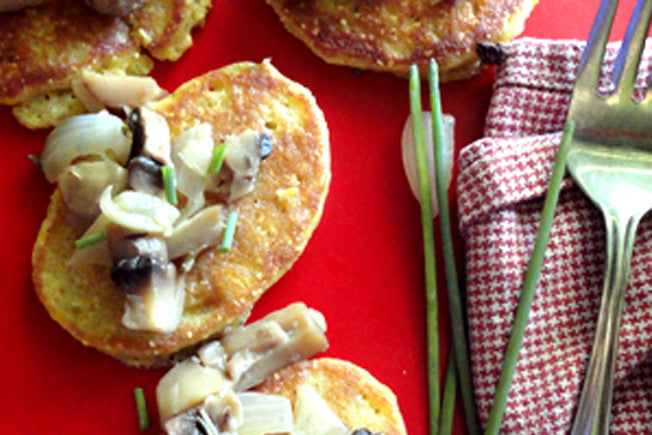 Herbed Corn Pancake with Mushroom Ragout & Chevre