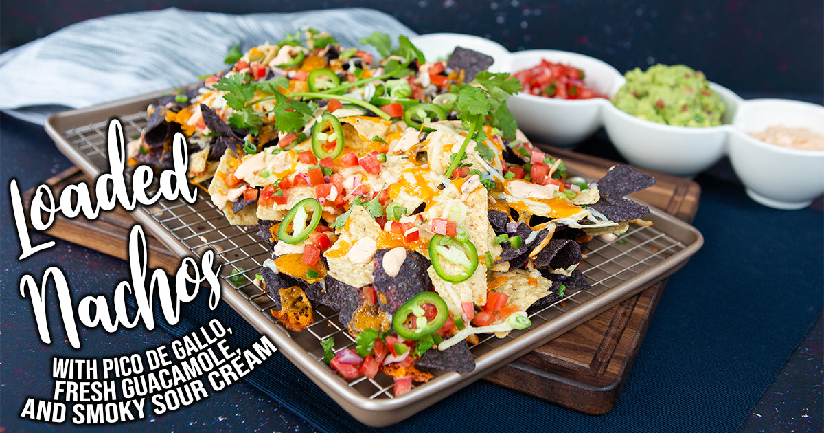 Nachos with Pico de Gallo, Fresh Guacamole, and Smoky Sour Cream