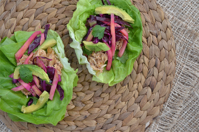 Mexican Pulled Chicken Wraps with Mango Slaw