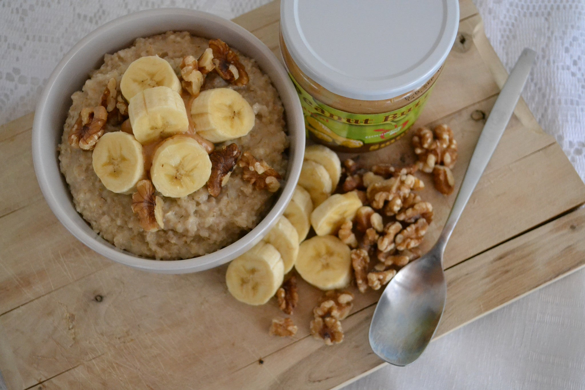 Peanut Butter Banana Oatmeal with Walnuts