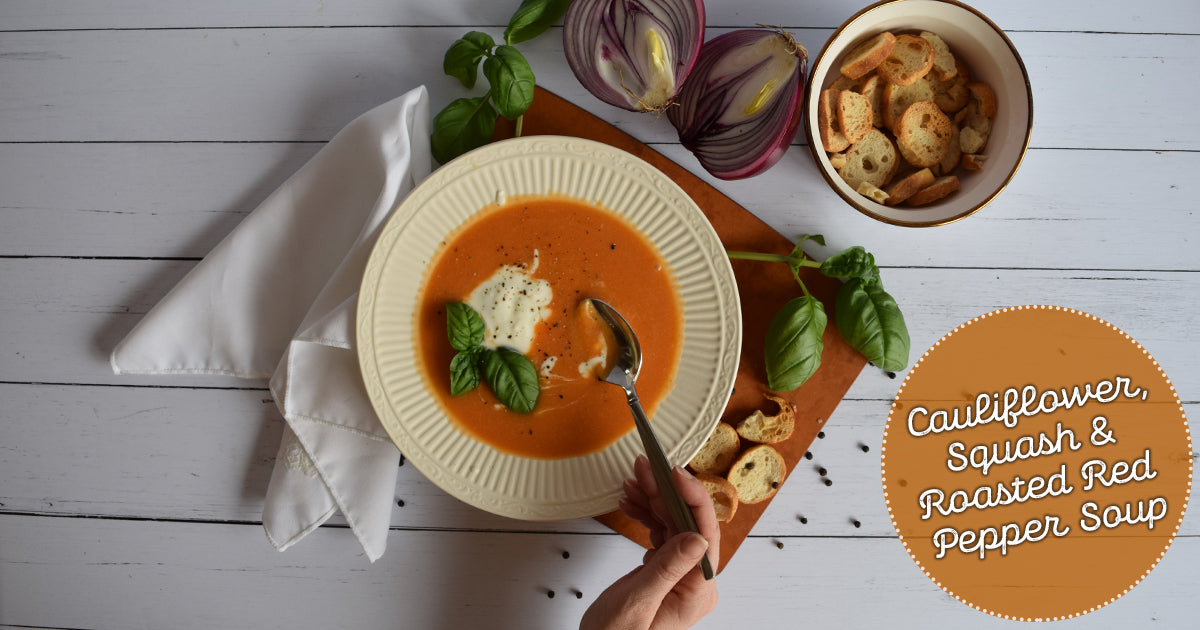 Cauliflower, Squash, & Roasted Red Pepper Soup